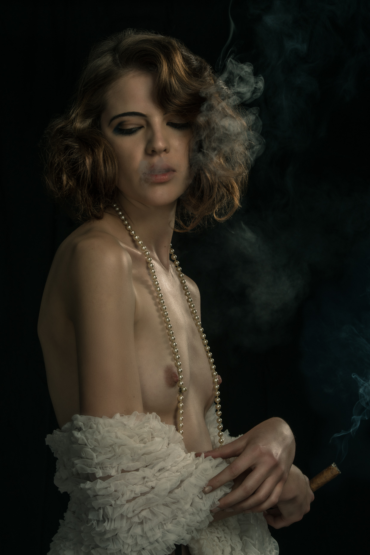 Smoking-model-semi-naked-white-shawl